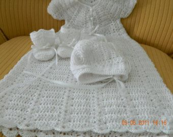 Free Crochet Patterns Christening Blankets : Beautiful White Crocheted 4 pc. Christening Set made with ...