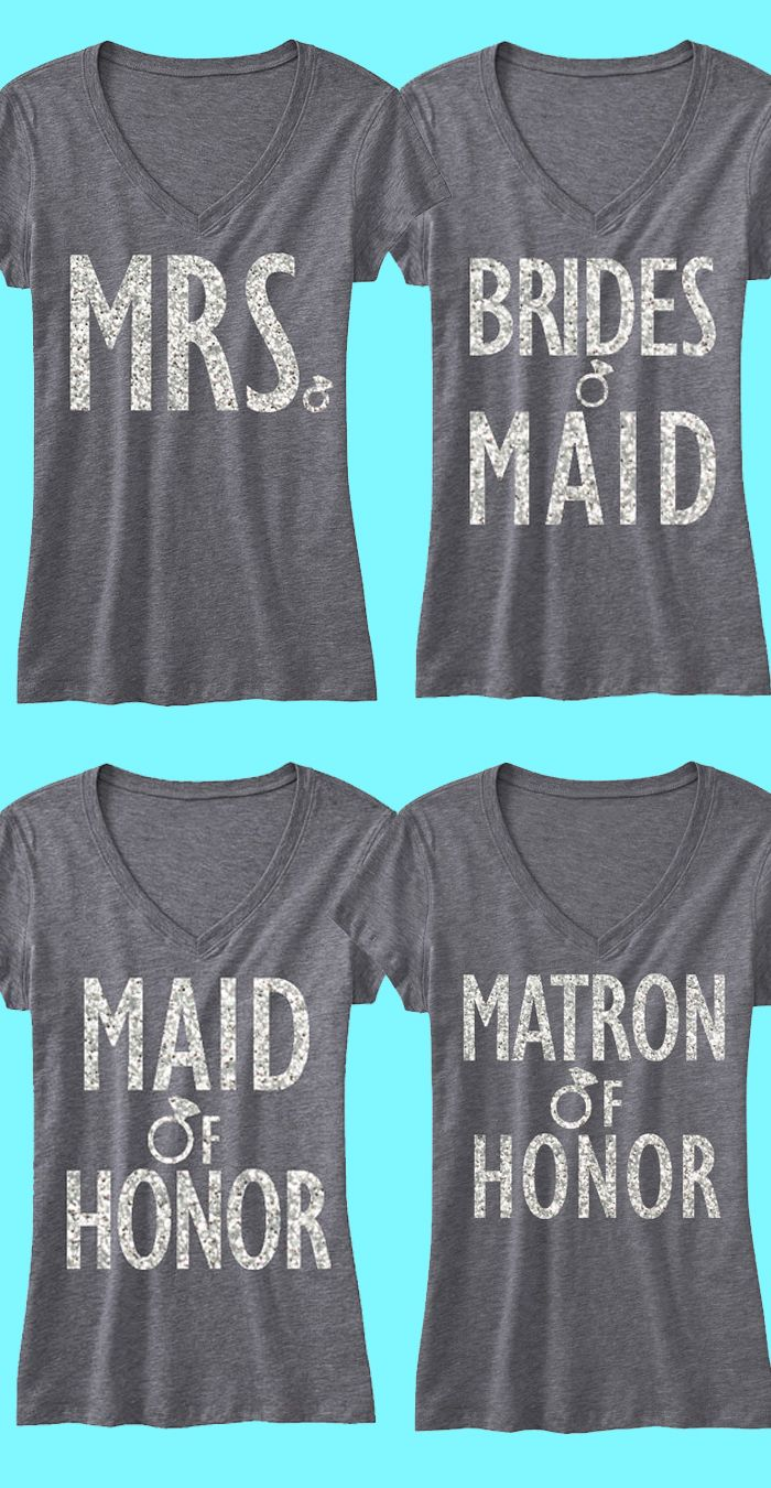 """Cute shirts for the #Bachelorette party! Bridal """"4"""" Pack Gray v-necks with glitter print for the #Bride and #Bridesmaids. Only $84.99, click here to buy https://www.etsy.com/listing/175405388/bridal-wedding-4-shirts-15-off-bundle?ref=shop_home_active_12"""