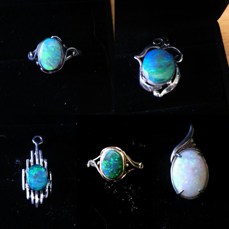 Just sold to Indiana USA these five items.Two Solid Black Opal rings and a Two Solid Black Opal Pendants from Lightning Ridge. One Solid White Opal Pendant from Coober Pedy. All Cut, polished and set by 'Yours truly' www.gemniopals.com.au and click on 'Online Store' Based In Maldon Victoria Australia