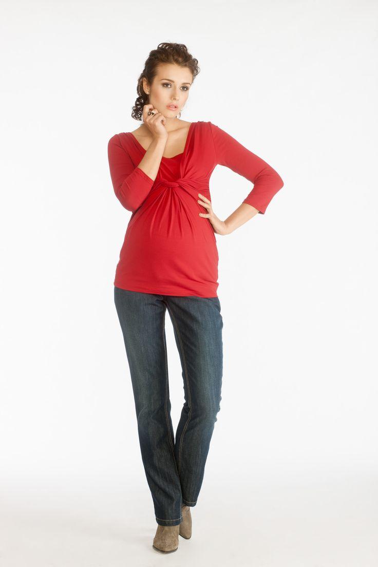 Fedora blouse red and Sugo trousers indigo