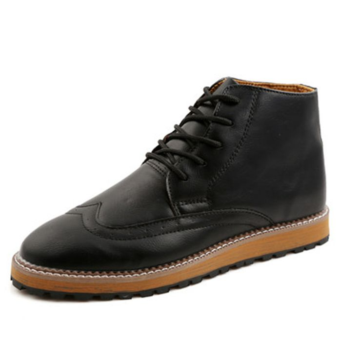 >> Click to Buy << Winter Mens Casual Leather Shoes Lace Ankle Men's Boots High Top DressBusiness Wedding Shoes Oxfords Flat Platform Footwear #Affiliate