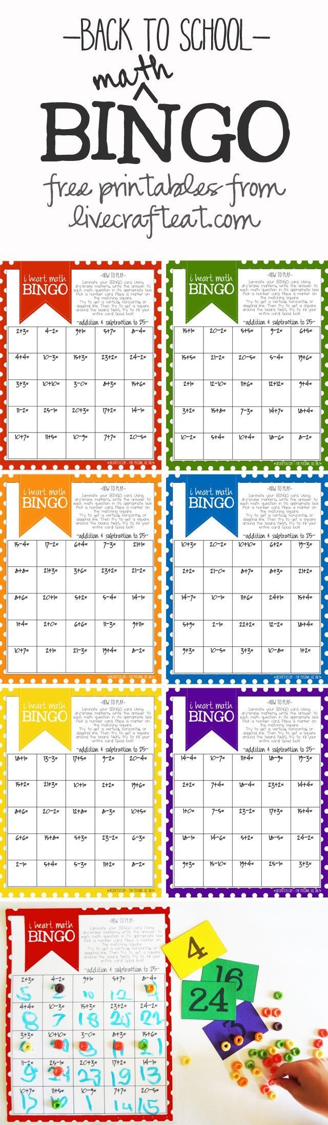 a fun back-to-school addition & subtraction bingo game for kids. 6 printable bingo cards with math questions equaling 1-25. free printables!   www.livecrafteat.com #kids #homeschool #printables