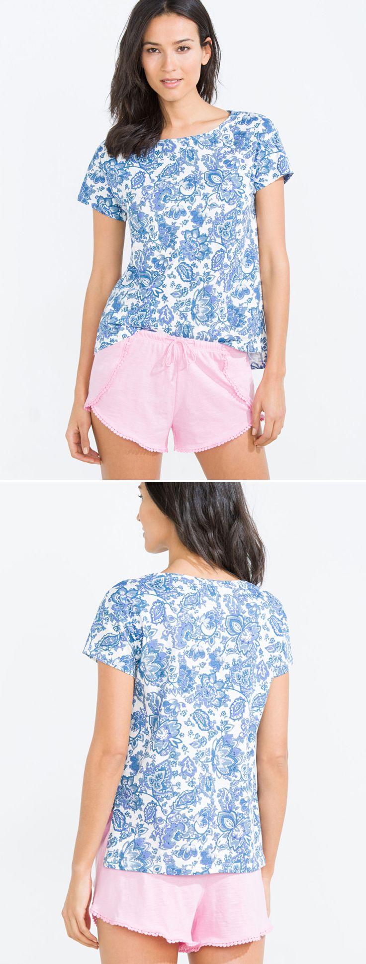 @womensecret short-sleeve floral cotton t-shirt