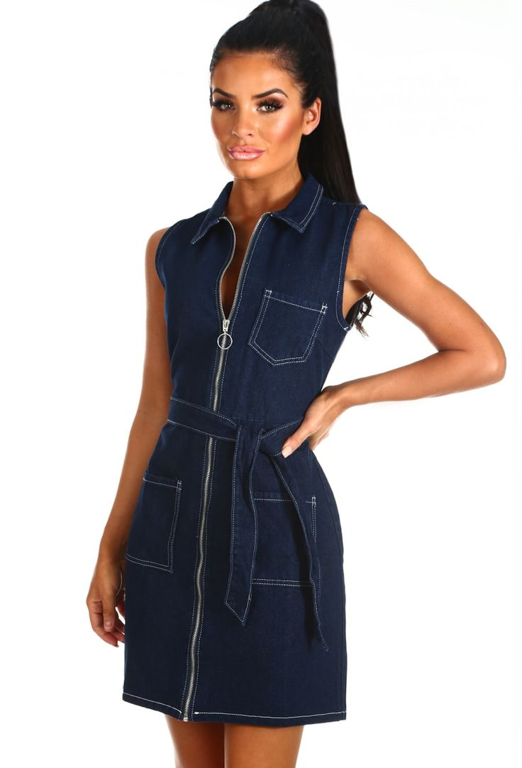 Feeling Beaut Navy Zip Front Denim Mini Dress | Pink Boutique