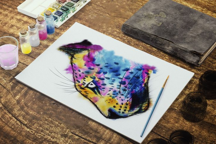Jaguar CMYK. Técnica acuarela