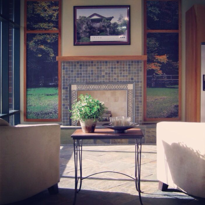A slate mosaic fireplace. #thetileshop
