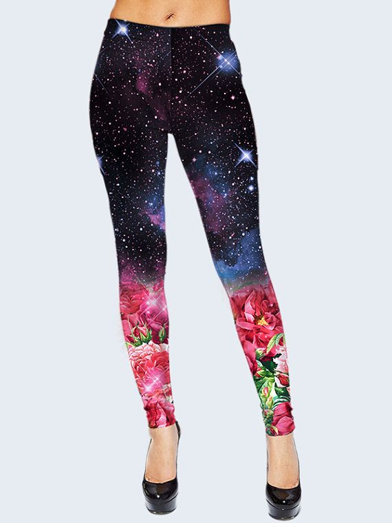 Womens Leggings, Galaxy Leggings mit Blumen, Leggings für Frauen, Raum, Leggings, lila Leggings, Mädchen Leggings