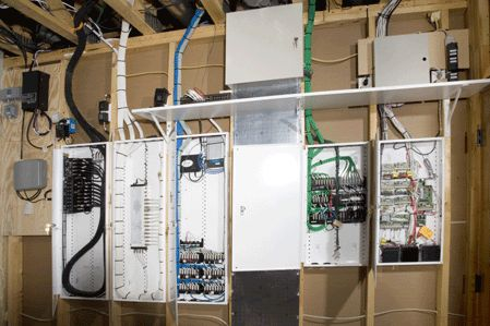 Beautiful structured wiring system organizes the entire building's wiring in a single location. http://www.homecontrols.com/Main-Category/Structured-Wiring