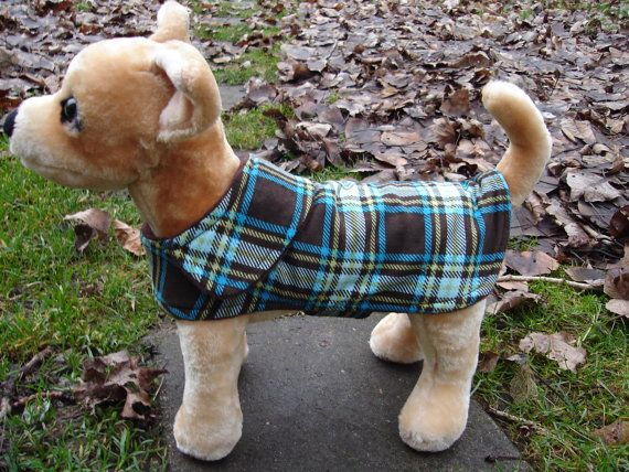 Dog Jacket   Brown and Turquoise Plaid Corduroy by KozyCanines, $30.00