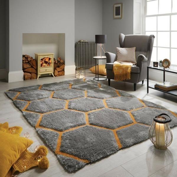 Honeycomb Shaggy Rug Rugs In Living Room Living Room Area Rugs Living Room Grey