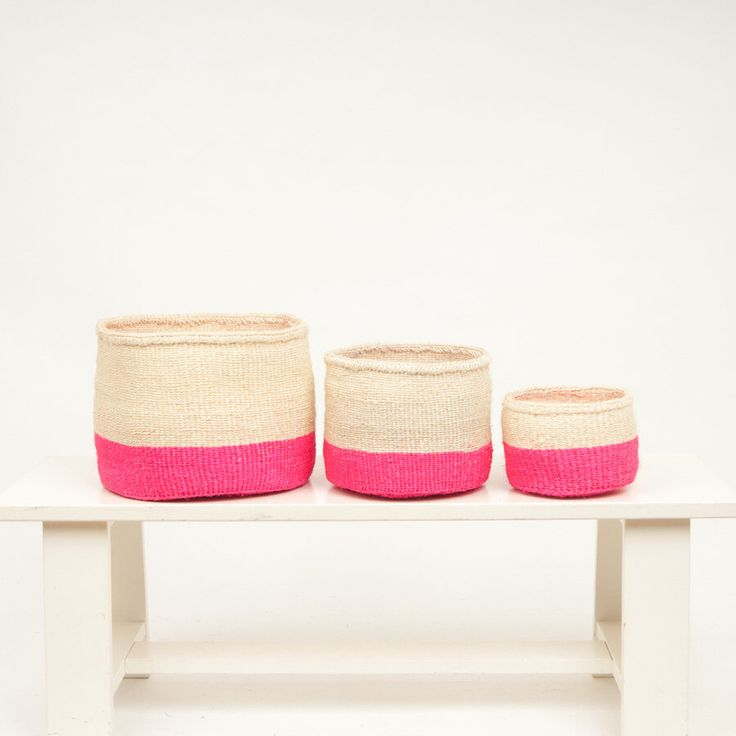 TURUBAI: Fluoro Pink Colour Block Woven Storage Basket by TheBasketRoom on Etsy https://www.etsy.com/listing/473112349/turubai-fluoro-pink-colour-block-woven