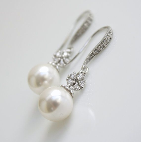 Bridal Earrings Pearl Jewelry Pearl Earrings Cubic Zirconia Flower Dangle Earrings Silver White round Swarovski Wedding Jewelry Bridal