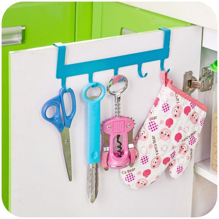 5 крючки утюг за дверь для кухонного шкафа дверца шкафа висит полка хром вешалка организатор домашнего декоракупить в магазине Ming Qing Technology Co., Ltd.наAliExpress