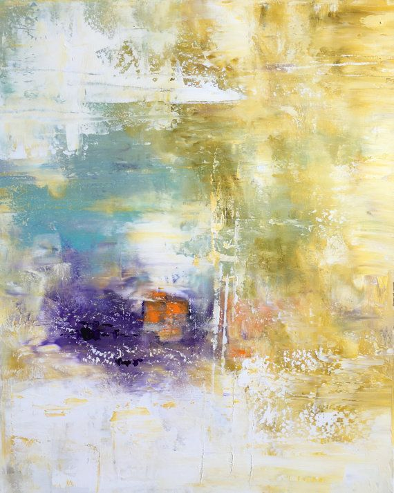 Large Abstract Painting on Gallery Stretched by therawcanvas