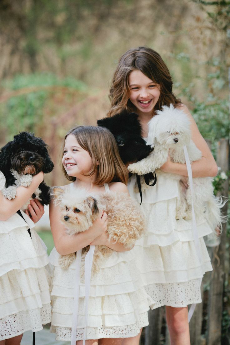 Flower girls and puppies?! Too cute!