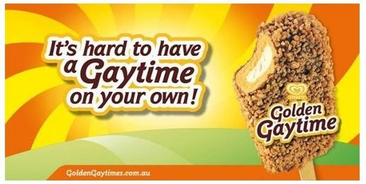 """It's hard to have a Gay-Time on your own"" Australian ice cream lolly"