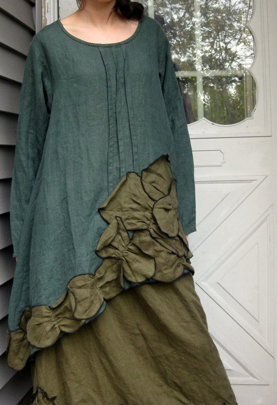 Green Linen Super Slanty Petal Tunic S by sarahclemensclothing, $139.00