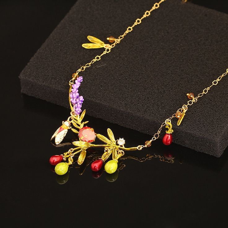 Les Nereides Paris Enamel Romantic Necklaces Lavender Olives Pendants Necklace For Women Lady Party Accessories