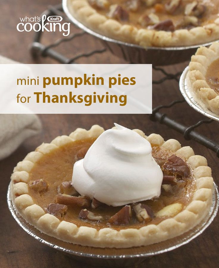 Cute, tasty and everyone gets their own serving!  Reinvent a classic #Thanksgiving dessert with these  Mini Pumpkin Pies. Guests will savour the flavours of cream cheese and yummy pumpkin filling in these individual portions. Tap or click photo for this easy recipe.