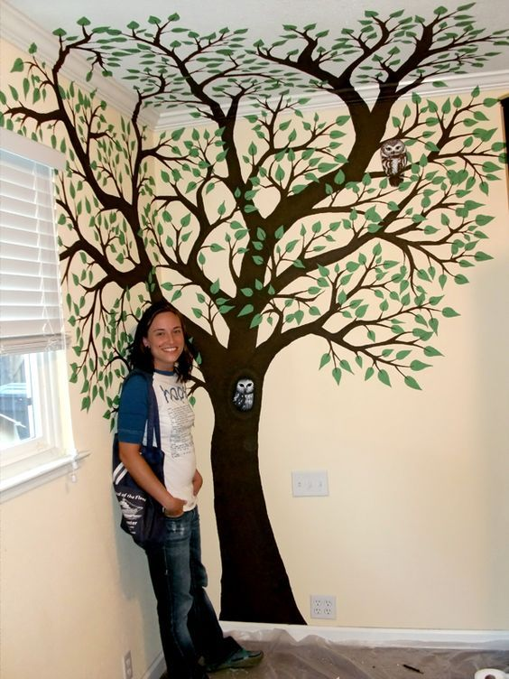 painted tree on a wall | Custom Decor : by Caitlin Veazey : Sacramento