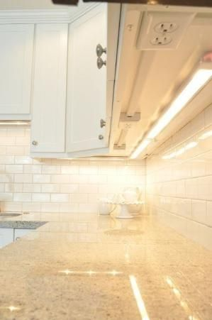 You could also install your outlets underneath your kitchen cabinets so they don't interfere with the backsplash. | 33 Insanely Clever Upgrades To Make To Your Home by susangir
