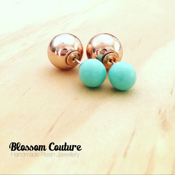 Mint Resin and Rose Gold Double Ball Earrings by MyBlossomCouture