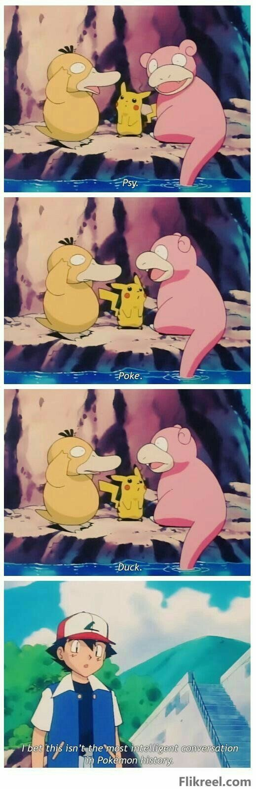 Psyduck, Slowpoke, Pikachu, Ash, funny, text, quote, comic, I bet this isn't the most intelligent conversation in Pokémon history; Pokémon