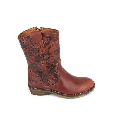 Stoere meisjes laarzen van het merk Develab, model 5028! Deze laarsjes zijn uitgevoerd in bruin glad leer met op de schacht een bloemetjespa...