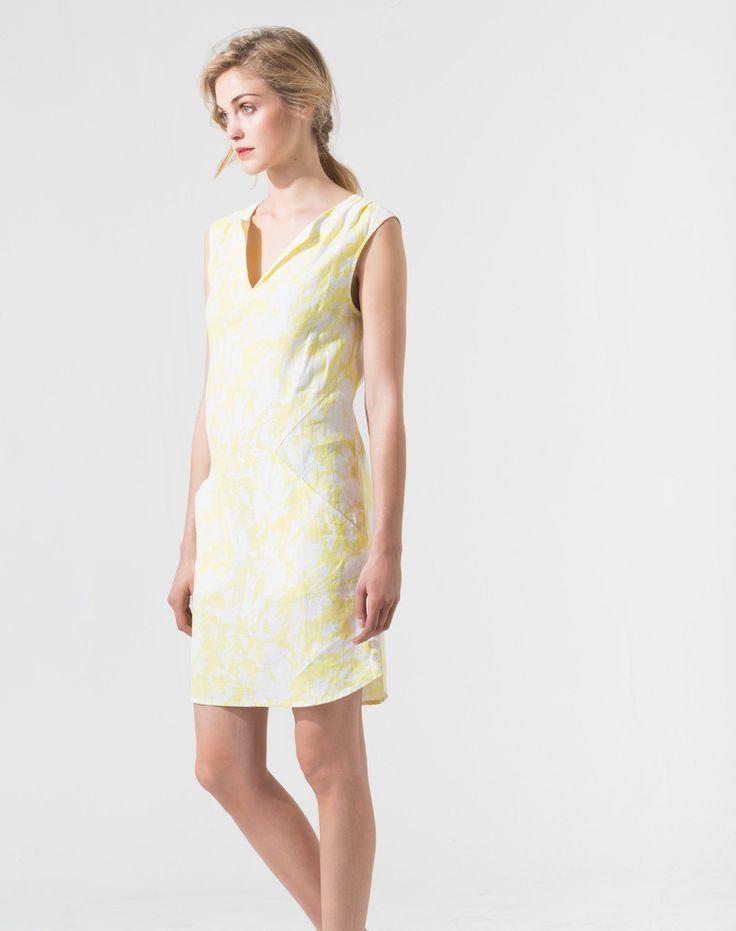 Robe jaune pâle imprimée Time Robes 1-2-3.fr