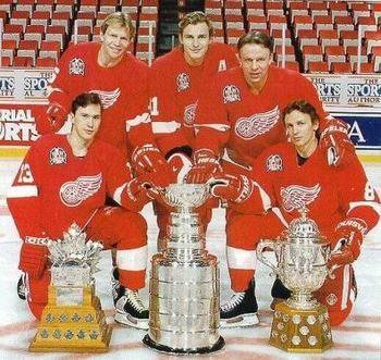 The Russian Five consisted of Vyacheslav Fetisov (D), Vladimir Konstantinov (D), Sergei Fedorov (RW), Igor Larionov (C) and Vyacheslav Kozlov (LW).