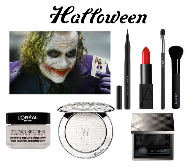 """simple joker Halloween makeup"" by diana-kulieva ❤ liked on Polyvore featuring NARS Cosmetics, Kevyn Aucoin, Burberry, MAC Cosmetics, Givenchy, Guerlain and L'Oréal Paris"
