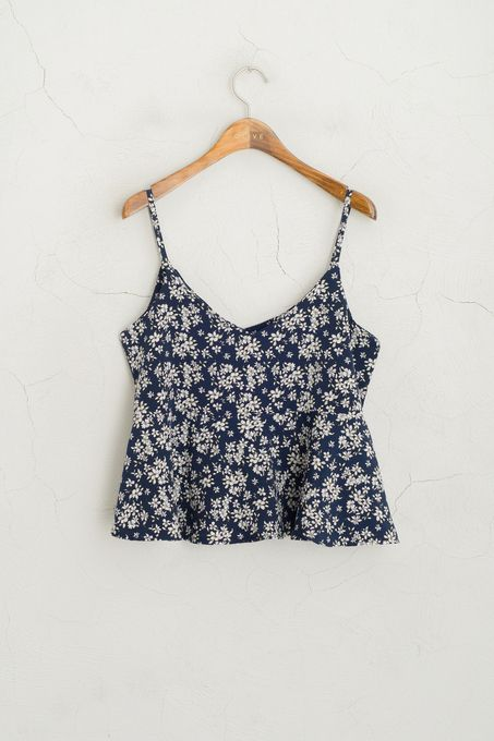 Frill Edge Floral Strappy Top, Navy, 100% Polyester
