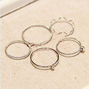 Silber 5pcs Urban Above Knuckle Band Plain Mid Finger Midi Ring Set Jewelry Vintage versilbern einfach ring sets S467K06