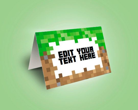 EDITABLE Minecraft Food Tent Cards Food Labels by TGIPrintable Can customize Food Tent!