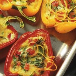 Cheese-Baked Capsicums with Linguine