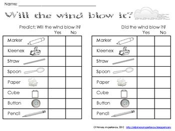 In this simple science station, students will make predictions and then test various objects to see if the wind will blow them.  Students will writ...