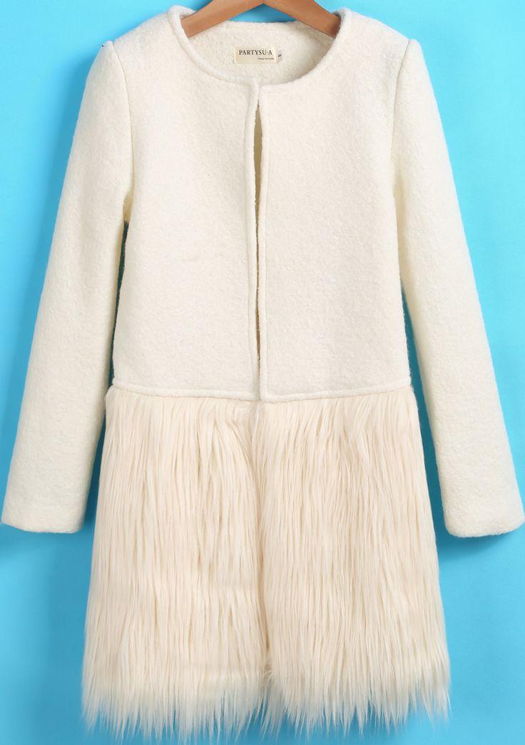 White Long Sleeve Contrast Faux Fur Woolen Coat 45.00