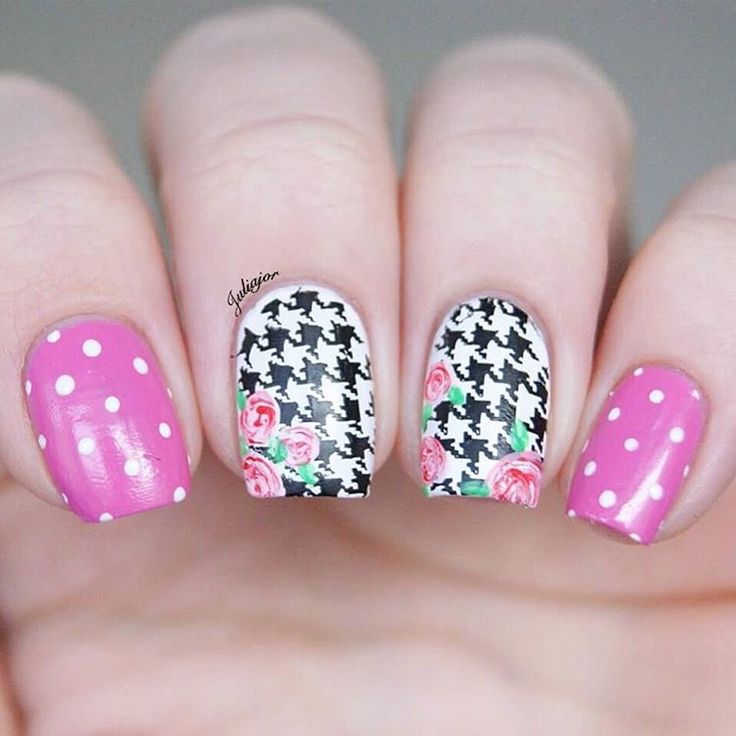 Floral Houndstooth Nails