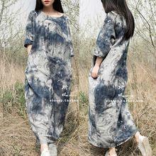 Свободного покроя платье 2015 весна лето платье женщины синий белые чернила халат старинные печать длинные широкий хлопок белье платье макси платья 0145(China (Mainland))
