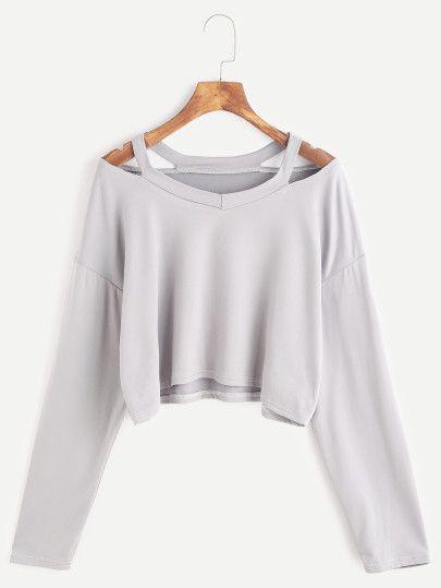 Camiseta corta cuello con abertura - gris