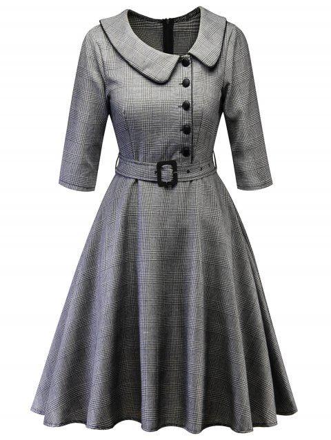 Button Embellished Plaid Vintage A Line Dress fashion  fashion outfits  fashion …