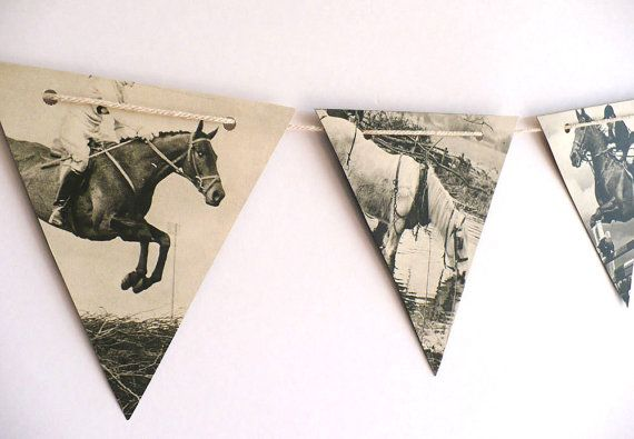 Vintage HORSES paper bunting, B & W party decoration, horse decor
