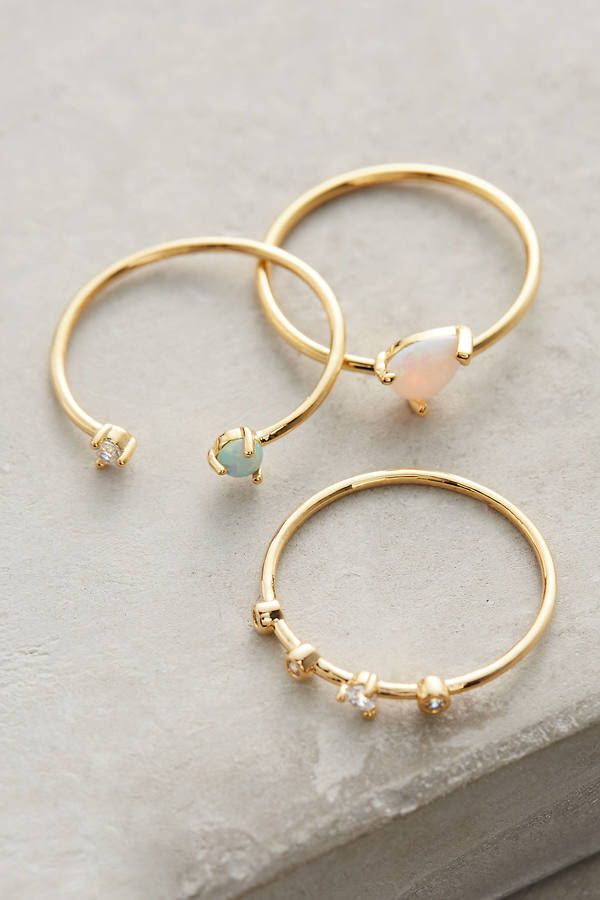 Anthropologie Opalescent Stacking Rings