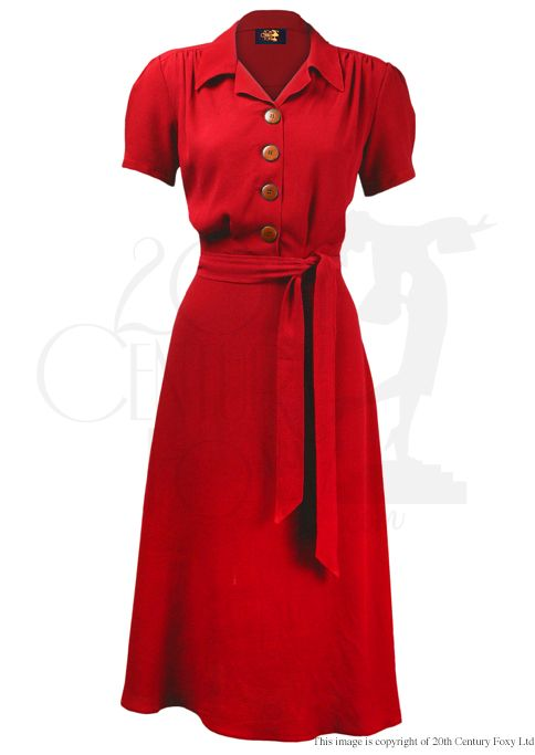 1940s Shirt Dress - scarlett crepe