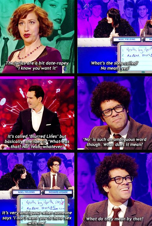 (gif set) The Big Fat Quiz of the Year discussing the fact that Robin Thicke's 'Blurred Lines' is the biggest selling song of 2013 in the UK