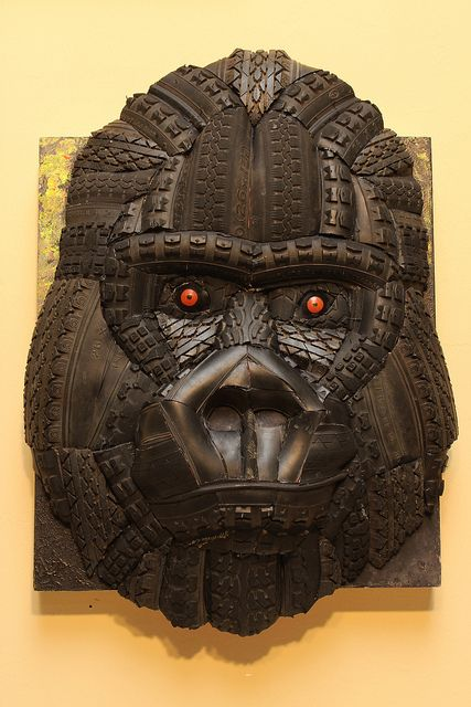 """""""Good Year Gorilla""""  14.5"""" x 20"""" (Gorilla), 13.5"""" x 15.5"""" (Frame) recycled bike tires, recycled phone book, glue, foam, and acrylic on polylaminate and wood frame        #recycling #recycle #art #AndrewCorkeArt #NewAgeArt #Nature #tire #tires #biketires  #Life #Gorilla #Mixedmedia #3D #Recycledmaterial #Fineart #Awesome #Epic     All images © AndrewCorkeArt www.AndrewCorke.Com"""