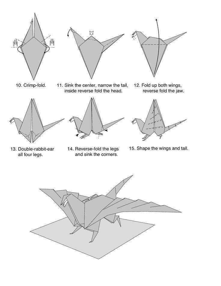 dragon facile en origami, pliages Japonais