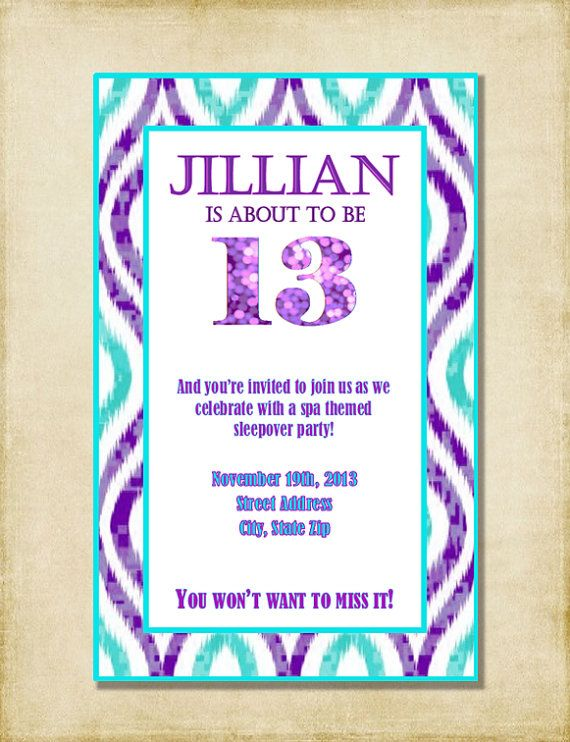 Girl Birthday Party Invitation Purple By AshleyMartinDesigns 500