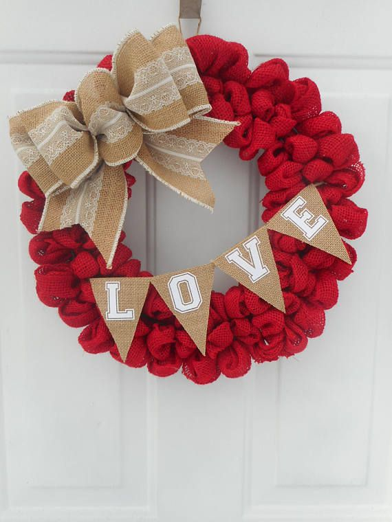 Valentine Wreath Valentine Burlap Wreath Valentine Red Burlap