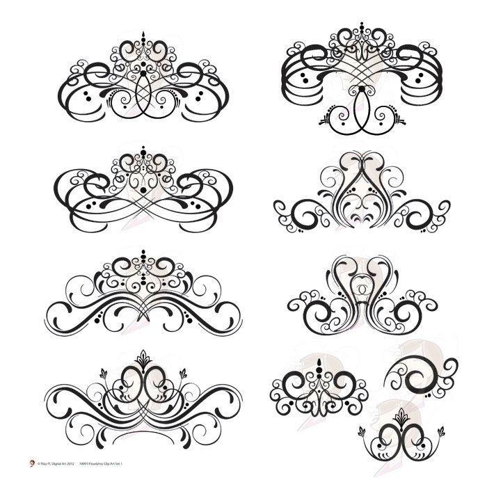 Flourish Digital Clip Art Clipart Flourish Swirls Vintage Fleur De Lis Digital Frame Decorative Embellishment Damask Design Elements 10091. $5.70, via Etsy.